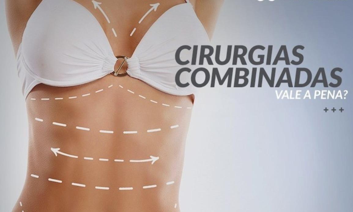 Corpo com demarcações de cirurgias combinadas